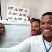 Postbank interns take part during the Global Money Week selfie challenge