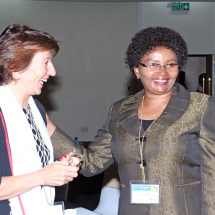 The World Savings Bank Institute (WSBI) Representative, Ms. Laurie Dufays share a light moment with Postbank Managing Director Ms. Anne Karanja during the 2017 ASBEA conference